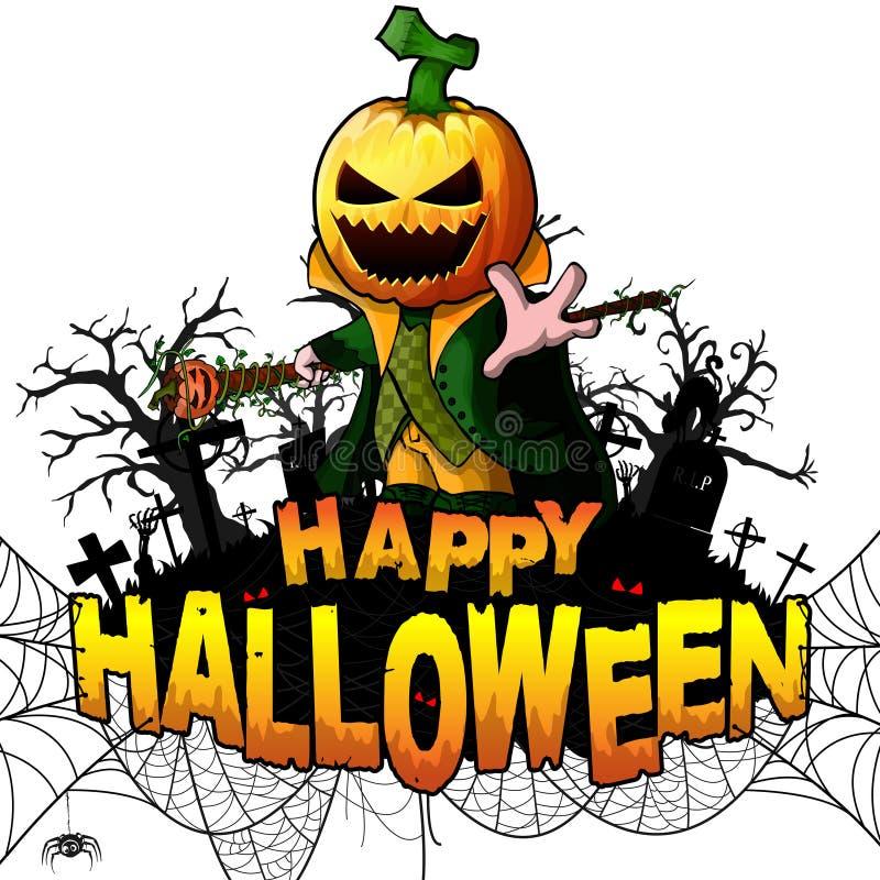 La plantilla del diseño del feliz Halloween con el personaje de dibujos animados de la calabaza en blanco aisló el fondo libre illustration