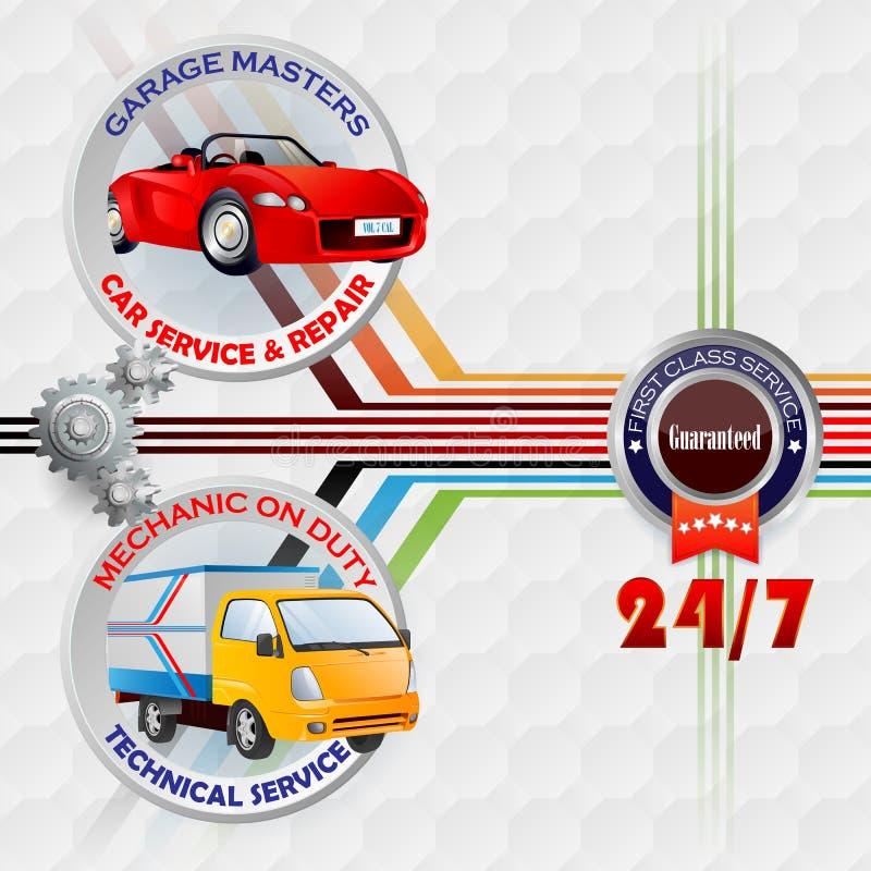 La plantilla del diseño moderno para el servicio del garaje, del coche y la reparación firma ilustración del vector