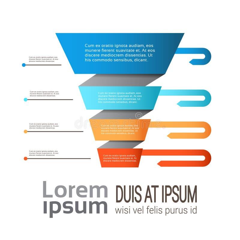 La plantilla del embudo del infographics de la carta de proceso de la cronología del negocio usada para la disposición de la pres ilustración del vector