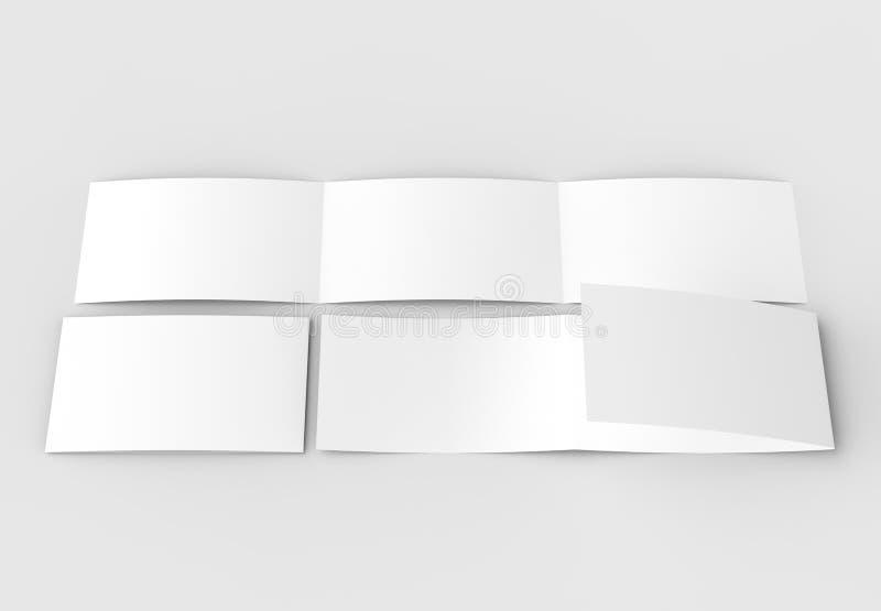 La plantilla del espacio en blanco tres dobla horizontal - ajardine el moc del folleto fotografía de archivo