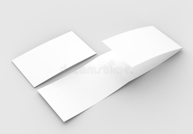 La plantilla del espacio en blanco tres dobla horizontal - ajardine el moc del folleto imágenes de archivo libres de regalías