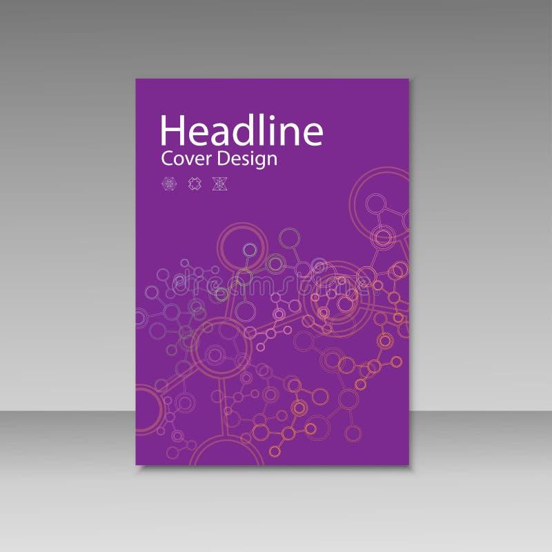 La plantilla del folleto de la cubierta con conecta el fondo de la molécula stock de ilustración
