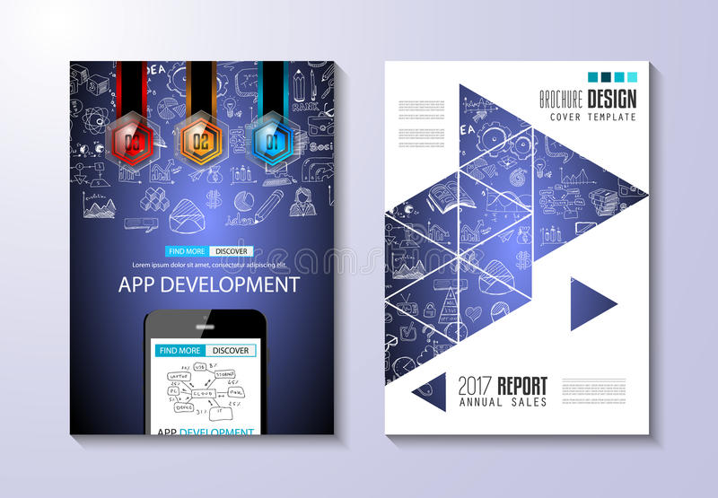 La plantilla del folleto, el diseño del aviador o Depliant cubren con fines comerciales libre illustration