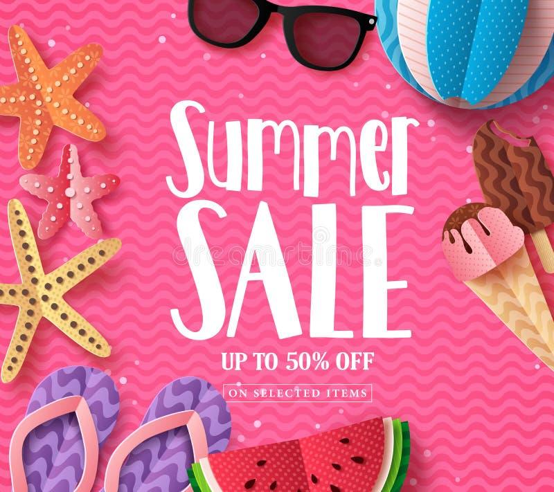 La plantilla del fondo del vector de la venta del verano con el papel cortó elementos de la playa libre illustration