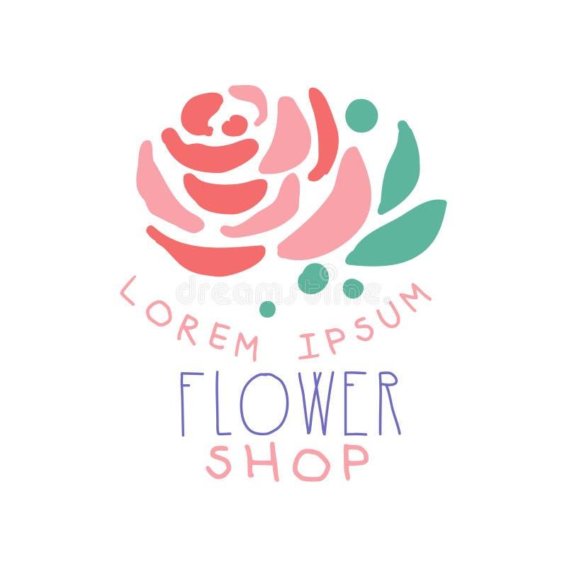 La plantilla del logotipo de la floristería con subió, elemento para el boutique floral, tienda, ejemplo dibujado mano colorida d stock de ilustración