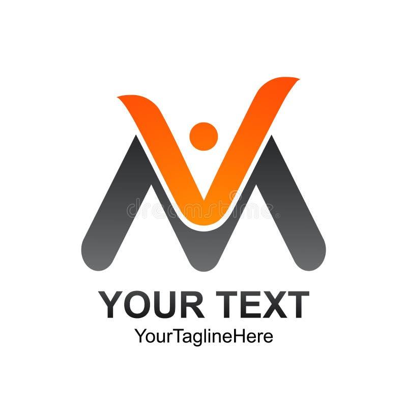 La plantilla del logotipo de la letra inicial VM coloreó diseño humano gris anaranjado ilustración del vector