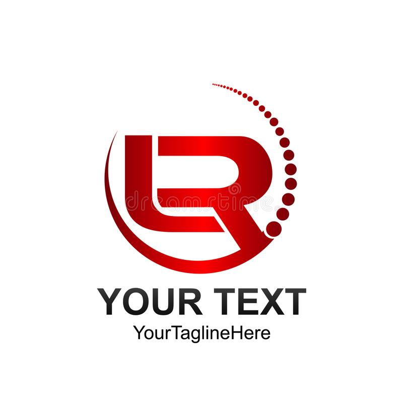 La plantilla del logotipo de LR de la letra inicial coloreó diseño de línea inclinada rojo del círculo libre illustration
