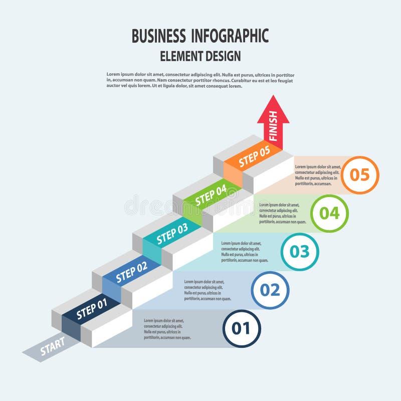 La plantilla del negocio de Infographics con la flecha camina para la presentación libre illustration