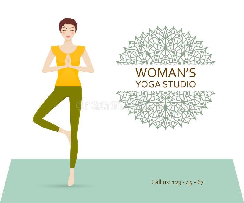 La Plantilla Del Negocio Del Estudio De La Yoga Con Yoga Practicante ...