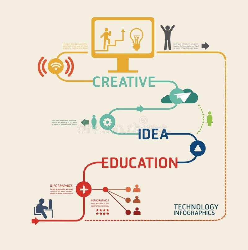 La plantilla del pictograma del diseño de la tecnología/se puede utilizar para el infograph stock de ilustración