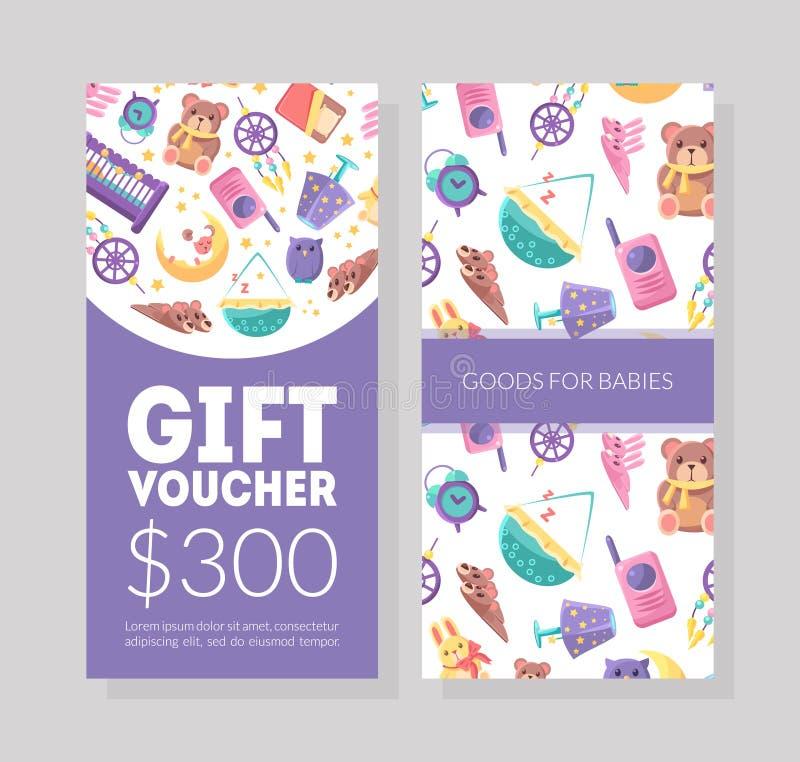 La plantilla del vale de regalo de las mercancías del bebé, niños almacena el certificado o el vale con el modelo infantil lindo, libre illustration