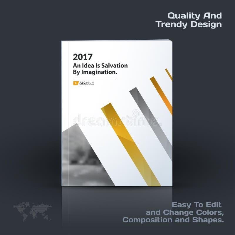 La plantilla del vector del negocio, diseño del folleto, informe anual abstracto, cubre la disposición moderna, aviador en A4 stock de ilustración