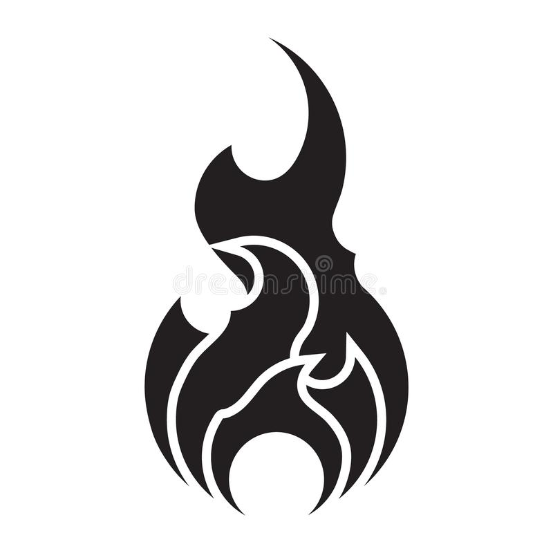La plantilla del vector del icono del fuego aisló Elemento plano del diseño del logotipo de la llama Silueta del s?mbolo de las l ilustración del vector
