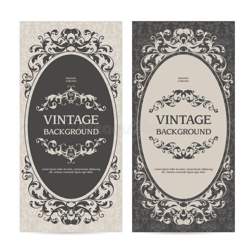 La plantilla del vintage fijó banderas verticales con las fronteras ornamentales y el fondo modelado Invitación de la boda, tarje stock de ilustración