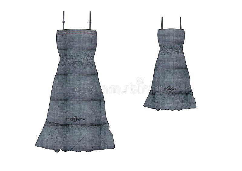 La plantilla del volante de la muchacha y la cintura que recolecta el vestido del dril de algodón diseñan libre illustration