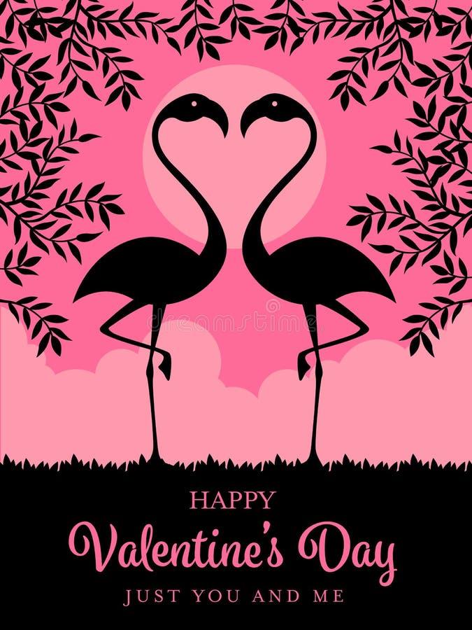 La plantilla feliz de la tarjeta del día de tarjetas del día de San Valentín con los flamencos de la silueta y la rama en vector  ilustración del vector