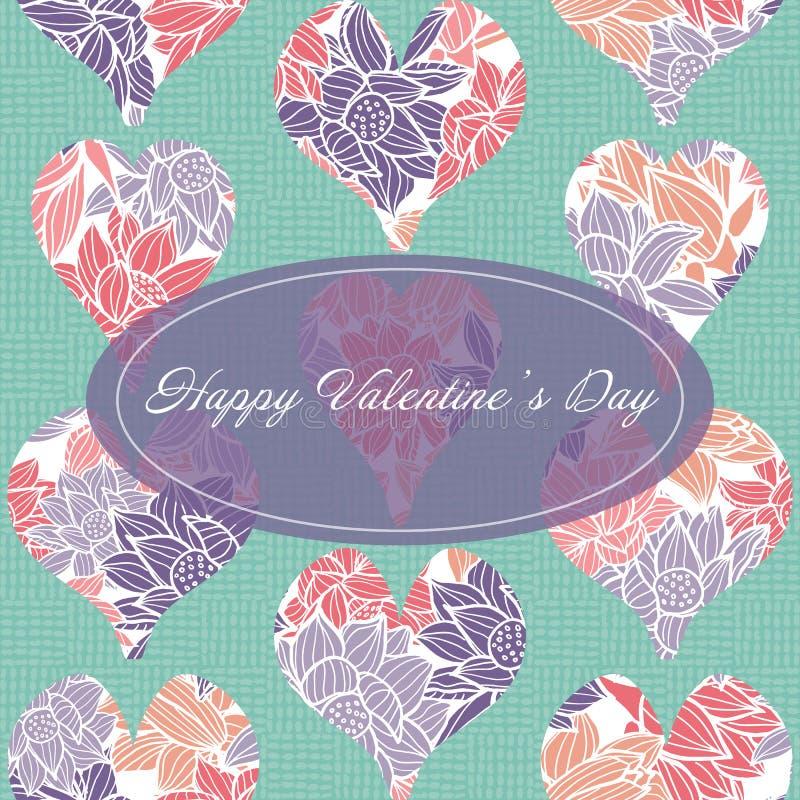 La plantilla feliz de la tarjeta de felicitación de día de San Valentín con las formas cortadas del corazón llenadas de un estamp stock de ilustración