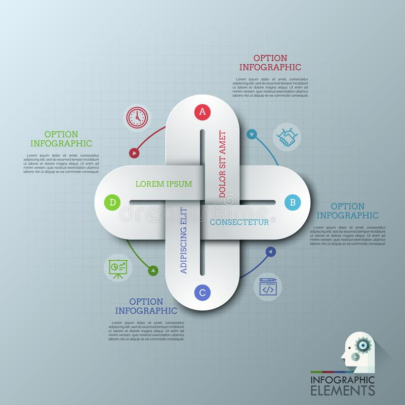 La plantilla infographic creativa del diseño con 4 alambradas multicoloras conectó junta, línea fina iconos y los cuadros de text stock de ilustración