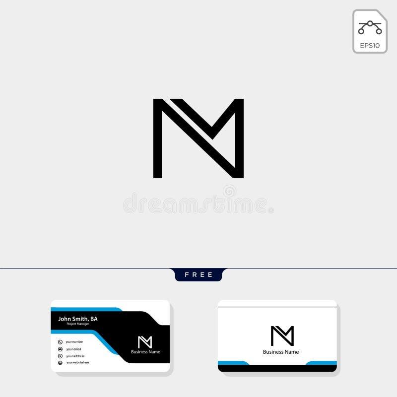 la plantilla inicial del logotipo del monograma de M, ejemplo del vector, libera su diseño de la tarjeta de visita ilustración del vector