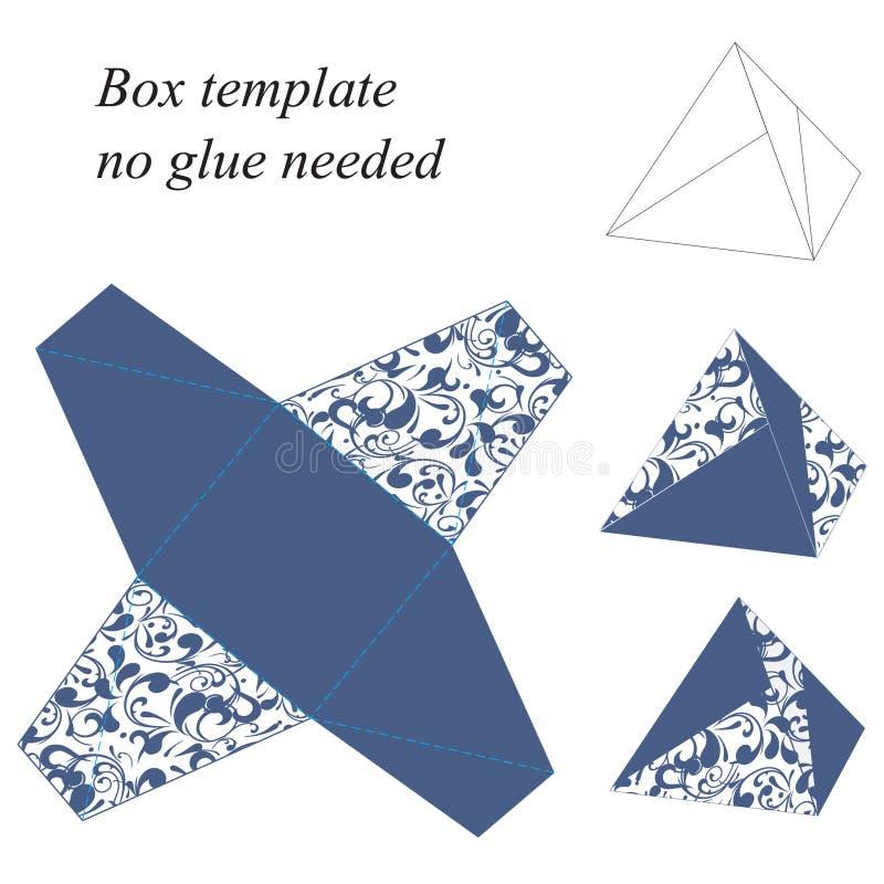 La plantilla interesante de la caja de la pirámide con el estampado de flores, ningún pegamento necesitó stock de ilustración