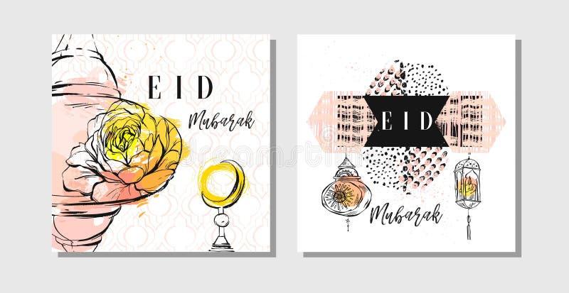 La plantilla islámica texturizada hecha a mano con cita de la caligrafía de Eid Mubarak, luna del sistema de tarjetas del extract stock de ilustración