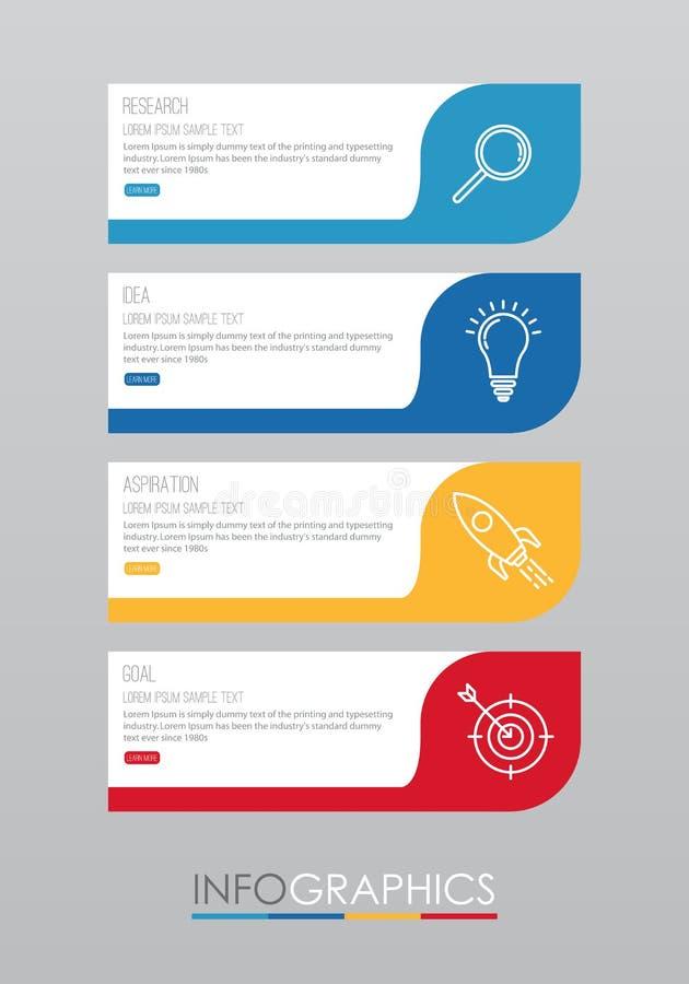 La plantilla moderna del Información-gráfico para el negocio con cuatro pasos diseño multicolor, etiquetas diseña, elemento del i libre illustration