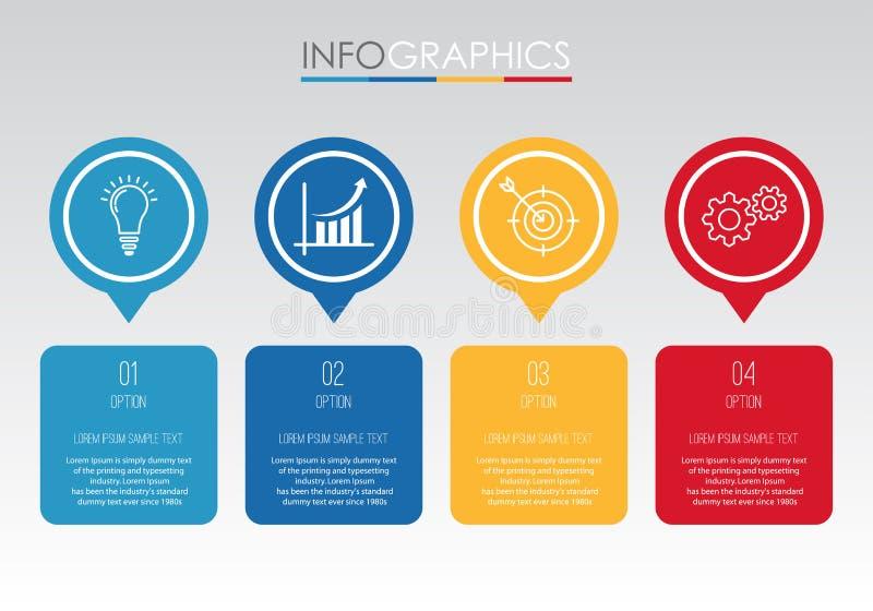 La plantilla moderna del Información-gráfico para el negocio con cuatro pasos diseño multicolor, etiquetas diseña, elemento del i ilustración del vector