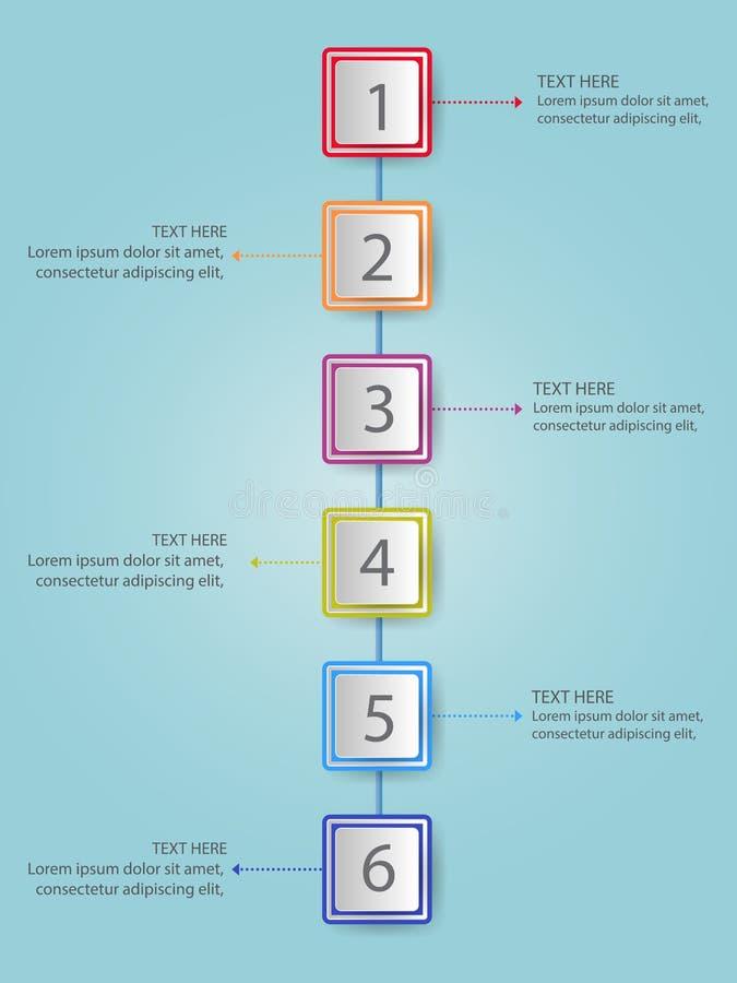 La plantilla moderna del proceso del infographics con el papel cubre el rectangl ilustración del vector