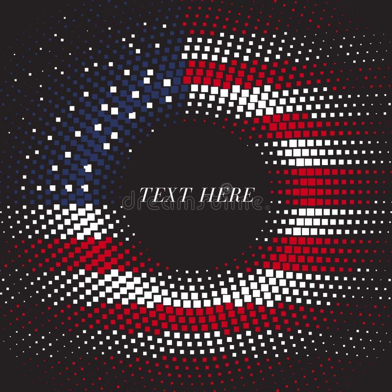 La plantilla redonda cuadrada Estados Unidos de la pendiente del tono medio señala por medio de una bandera stock de ilustración