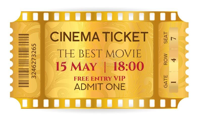 La plantilla simbólica del boleto de oro del boleto del cine rasga la tira de la película del boleto aislada en el fondo blanco stock de ilustración
