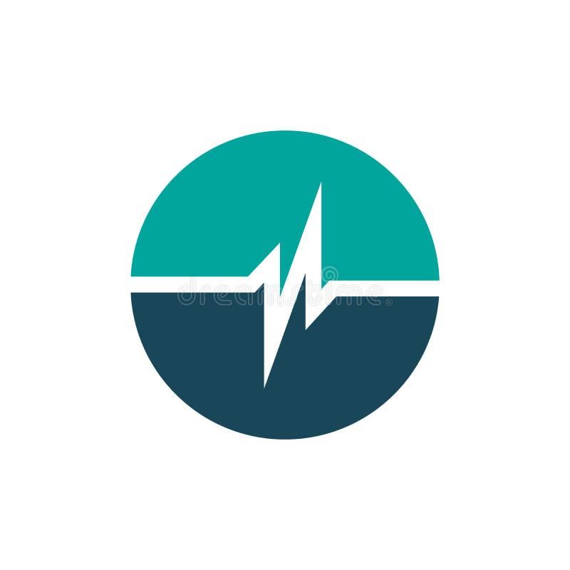 la plantilla simple del logotipo del círculo del pulso, plantilla simple del logotipo del cuidado de Healht, diseño del logotipo  stock de ilustración