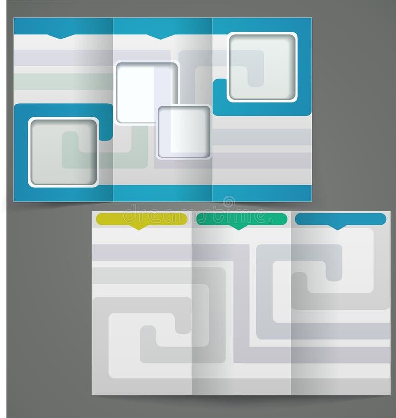 La plantilla triple del folleto del negocio, vector f azul stock de ilustración