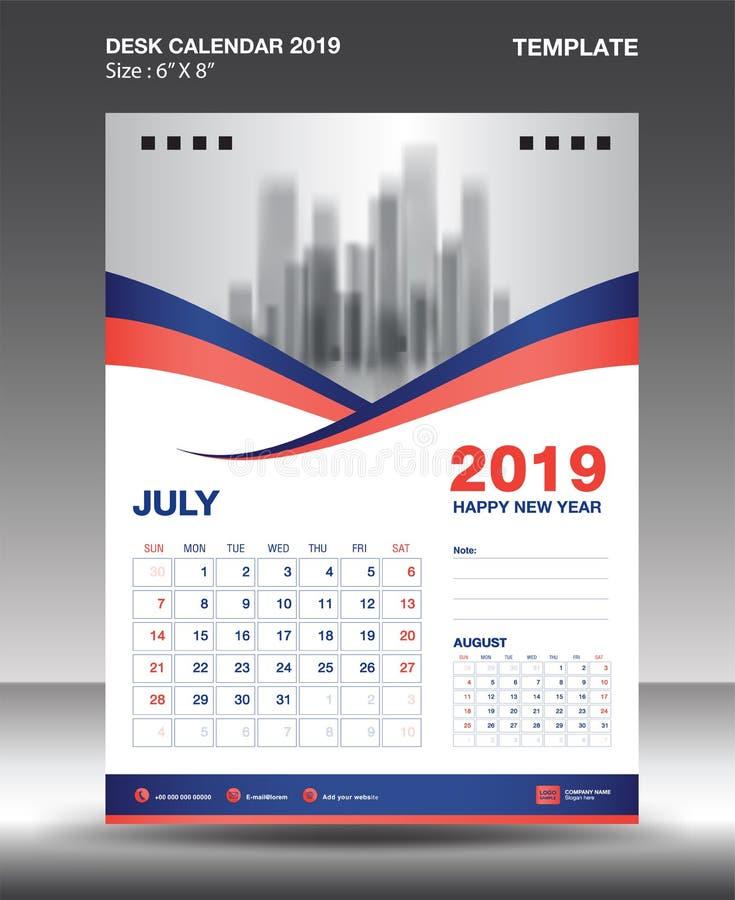 La plantilla 2019, vector del calendario del Julio-escritorio del diseño del aviador, disposición anaranjada azul del concepto, p ilustración del vector