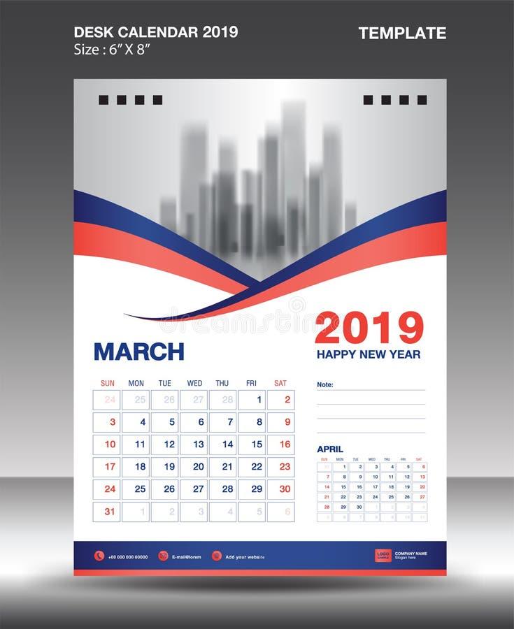 La plantilla 2019, vector del calendario del Marzo-escritorio del diseño del aviador, disposición anaranjada azul del concepto, p stock de ilustración