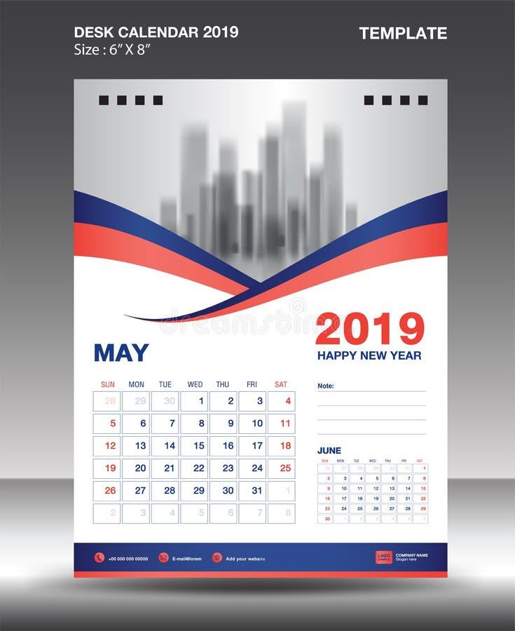 La plantilla 2019, vector del calendario del Mayo-escritorio del diseño del aviador, disposición anaranjada azul del concepto, pl ilustración del vector