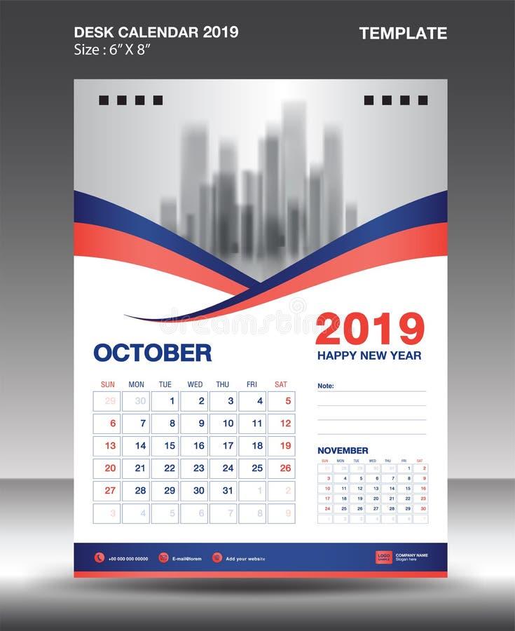 La plantilla 2019, vector del calendario del Octubre-escritorio del diseño del aviador, disposición anaranjada azul del concepto, stock de ilustración