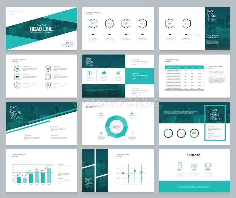 La plantilla y el diseño de página del diseño de la presentación del negocio con la cubierta diseñan stock de ilustración