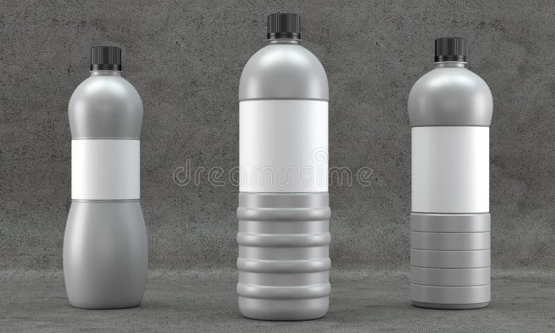 La plastica imbottiglia il modello su fondo concreto illustrazione di stock