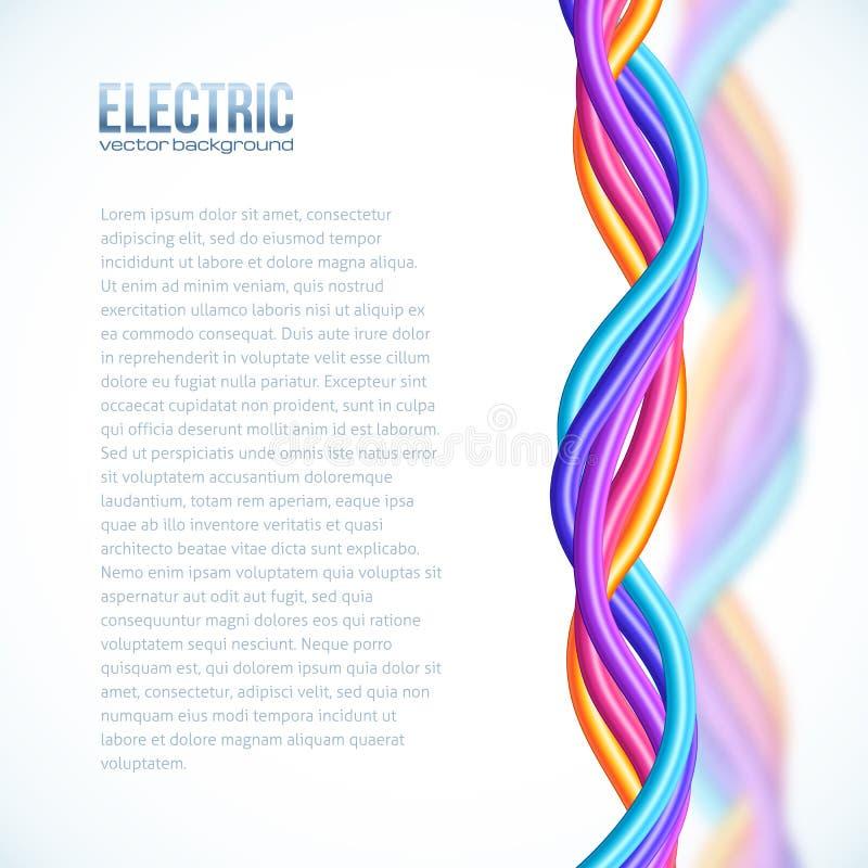 La plastica vibrante di colori torta cabla il fondo illustrazione di stock