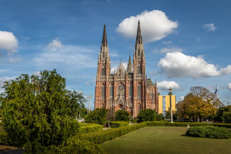 La Plata Cathedral and Plaza Moreno - La Plata, Buenos Aires Province, Argentina stock photos
