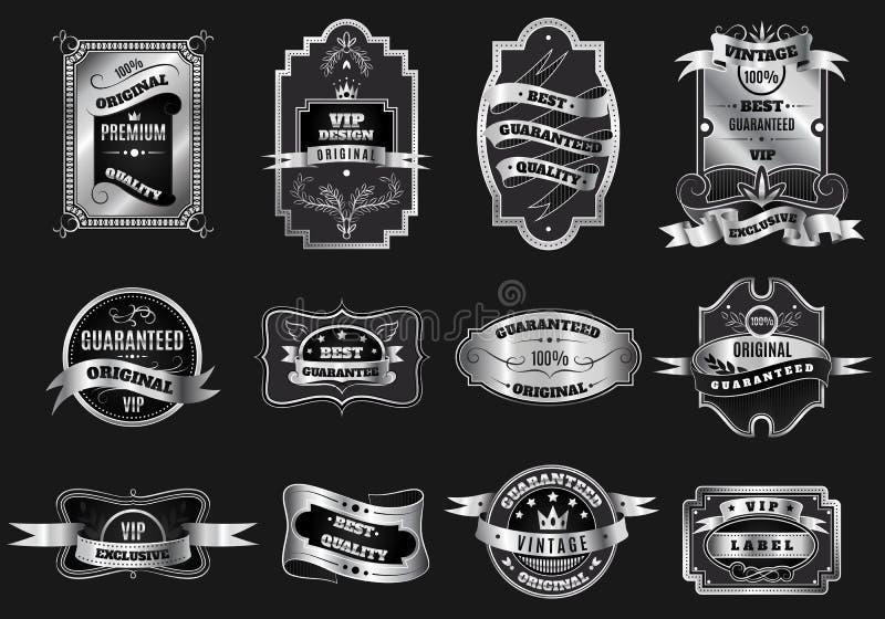 La plata original retra simboliza la colección de las etiquetas ilustración del vector
