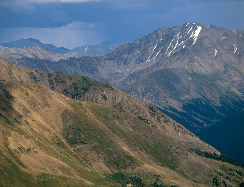 La Plata Peak and approaching storm, Sawatch Range, Collegiate Peaks Wilderness, Colorado. I had an unobstructed perspective on La Plata from the summit of a 13 royalty free stock photos