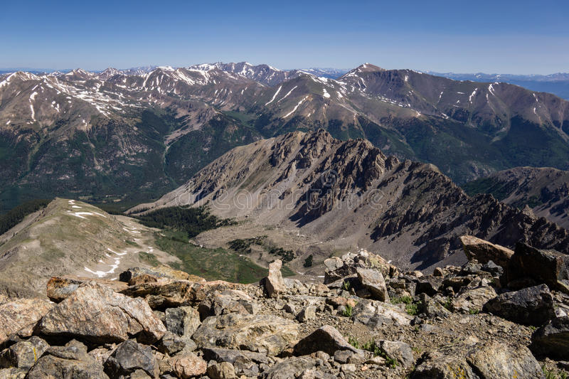 La Plata Peak Summit. A look down on La Plata& x27;s approach. Independence Pass Rd and Mount Elbert can be seen in the background royalty free stock images