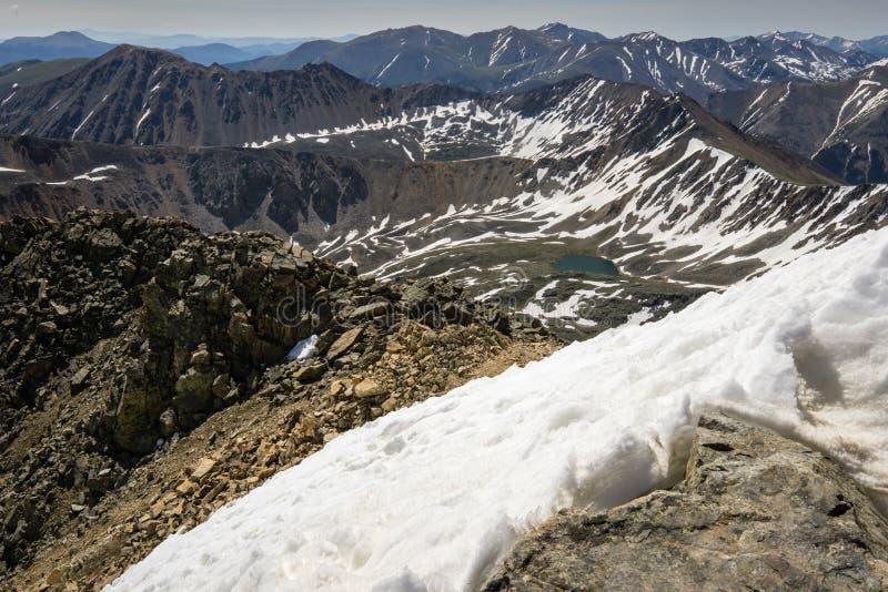 La Plata Peak Summit. Snow on top of La Plata Peak, near Independence Pass, Colorado royalty free stock photos