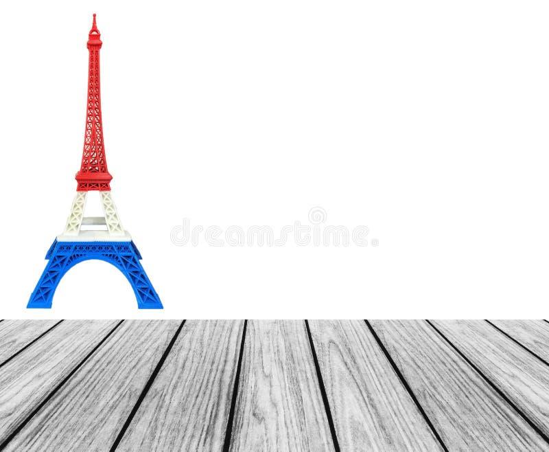 La plate-forme en bois de terrasse avec le modèle de Tour Eiffel dans le drapeau de Frances, rayure bleue blanche rouge a imprimé photographie stock