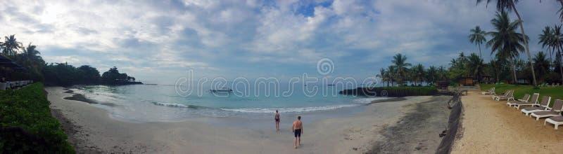 La playa de Sandy, el mar, las palmeras y la gente entran en el agua bali imagen de archivo libre de regalías