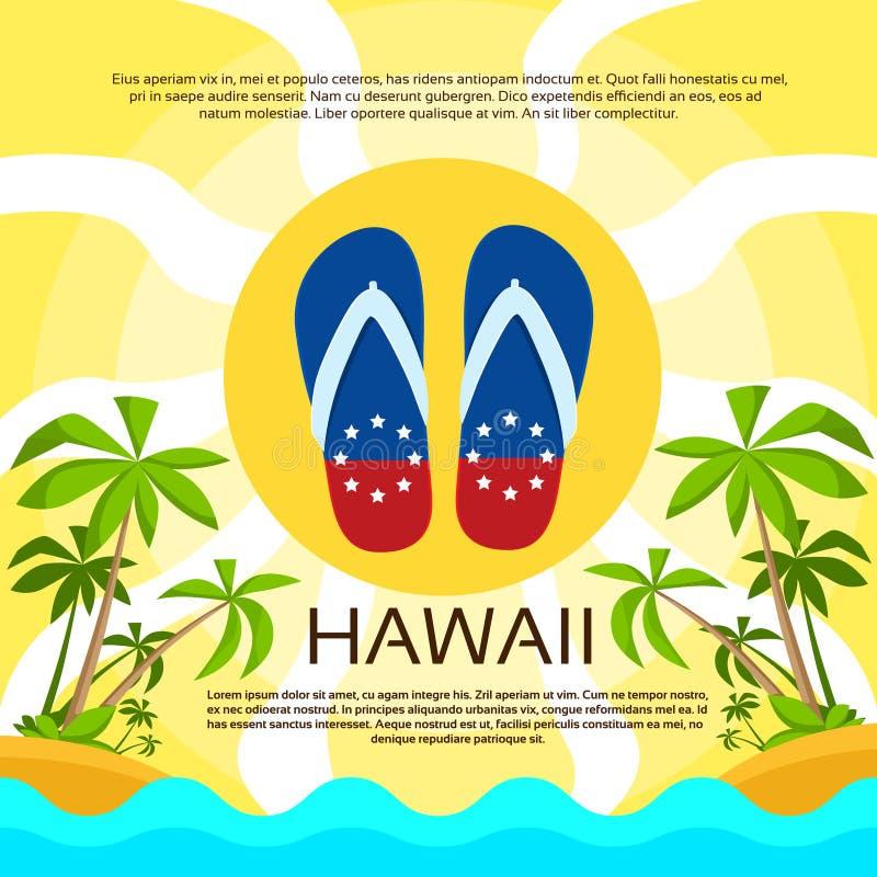 La playa del verano Flip-flops color de la bandera de Hawaii de la arena stock de ilustración