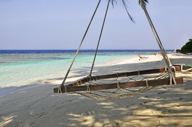La playa en los Maldivas fotografía de archivo