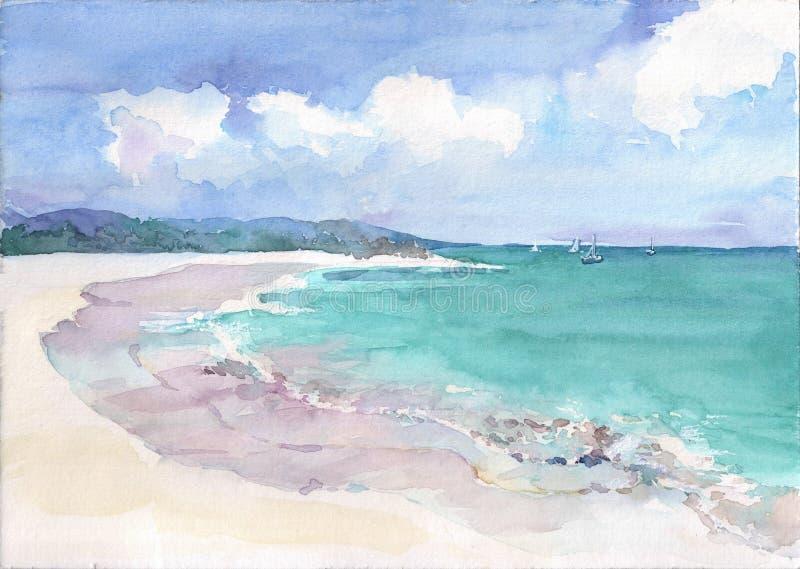La playa tropical con la esmeralda ve el agua y corales Ejemplo dibujado mano de la acuarela libre illustration