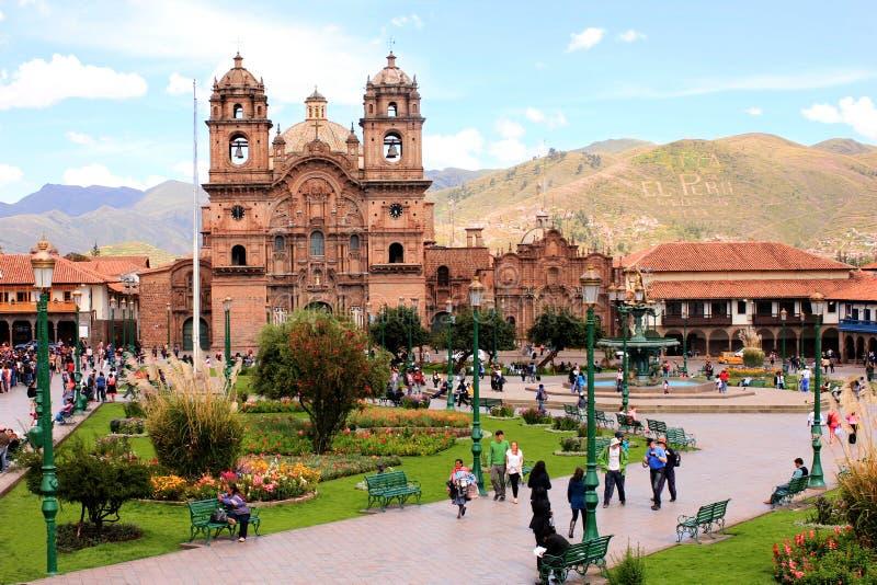 la Plaza de阿玛斯在库斯科 免版税库存照片